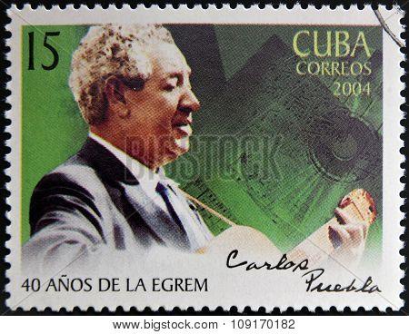 CUBA - CIRCA 2004: A stamp printed in cuba shows Carlos Puebla circa 2004