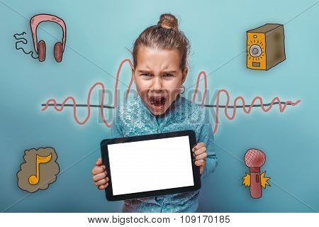 teen girl holding a tablet opened her mouth screaming sound wave