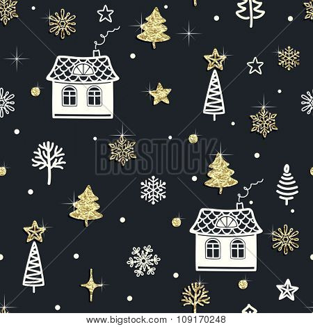 Seamless Christmas background with houses, trees, Christmas trees, stars and snowflakes of golden foil.