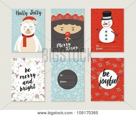 Merry Christmas Card Set Pattern Retro Cute Bear