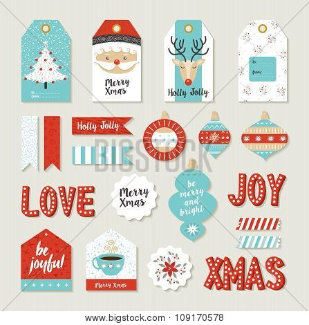 Merry Christmas Set Scrapbook Diy Printable Tags