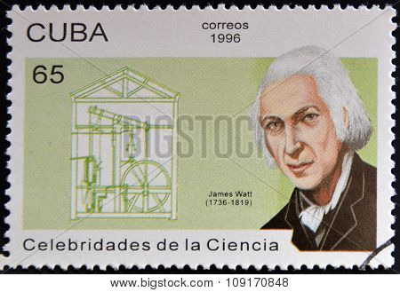 CUBA - CIRCA 1996: a stamp printed in Cuba shows an image of James Watt circa 1996.