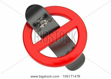 Skateboard In Prohibition Sign