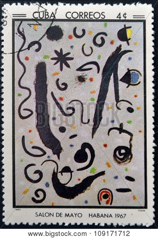 Stamp printed in Cuba commemorative to May Salon 1967 shows Poem by J Miro