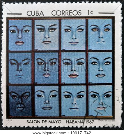 Stamp printed in Cuba commemorative to May Salon 1967 shows Twelve Selenites by Labisse