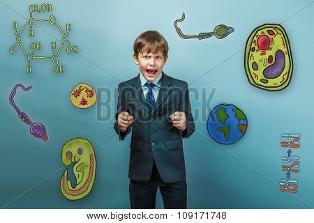 Teenage boy in a business style suit yelling opened his mouth cl