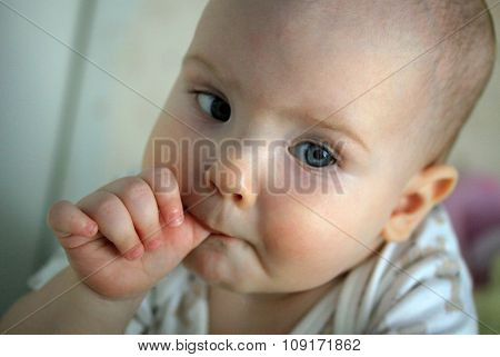 Portrait Of A 10-months Baby With A Finger In The Mouth