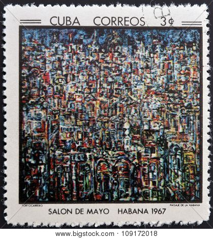 Stamp printed in Cuba commemorative to May Salon 1967 shows Havana Landscape by Portocarrero