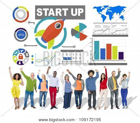 Diversity Casual People Start up Infographic Community Celebration Concept