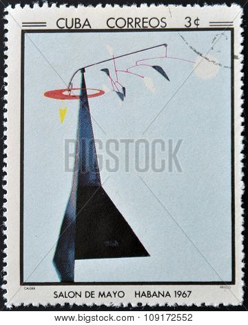 CUBA - CIRCA 1968: Stamp printed in Cuba commemorative to May Salon 1967 shows Frisco by Calder