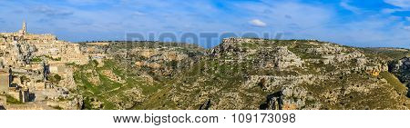 Panoramic View Of Typical Stones (sassi Di Matera) And Church Of Matera Unesco European Capital Of C