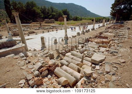 Historical Landscape With Ruined Street Of Ancient City Ephesus In Turkey