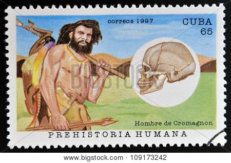 A stamp printed in Cuba dedicated to human prehistory shows the Cro-Magnon