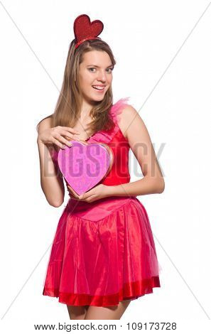 Girl in pretty pink dress with gift box isolated on white