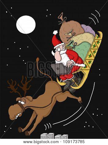 Santa checking online orders