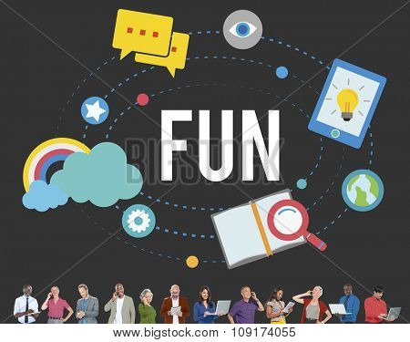 Fun Cheerful Happiness Recreation Activity Concept