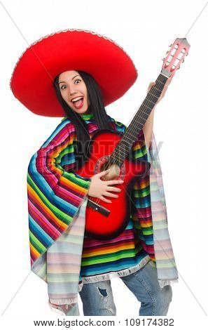 Woman mexican guitar player on white