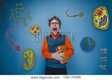 teenage boy retro style glasses holds book and shouts opened his