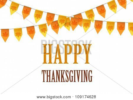Happy Thanksgiving Day card with bunting flags