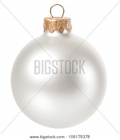 Beautiful White Christmas Ball Isolated On White Background