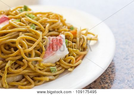 Delicious chinese food Lobster Lo Mein stir fry