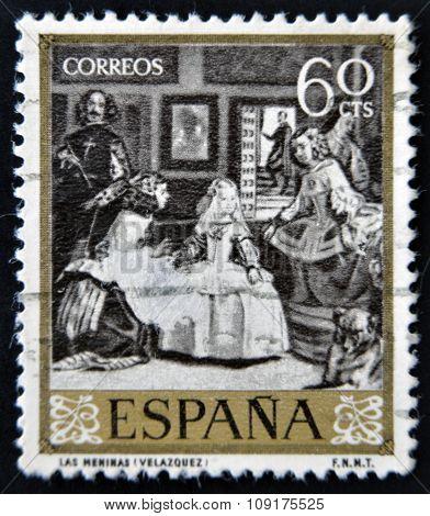 SPAIN - CIRCA 1959: A stamp printed in Spain shows Las Meninas by Velazquez circa 1959
