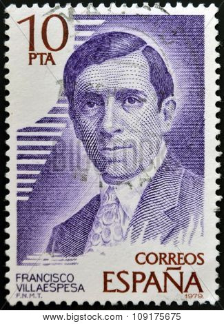 SPAIN - CIRCA 1979: A stamp printed in Spain shows Francisco Villaespesa circa 1979.
