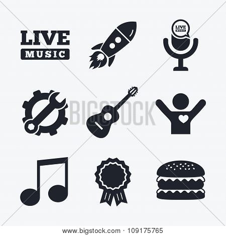 Musical elements icon. Microphone, Music note.