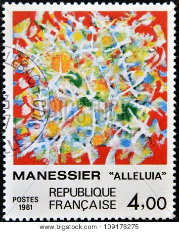A stamp printed in France shows alleluia stained glass window by Alfred Manessier