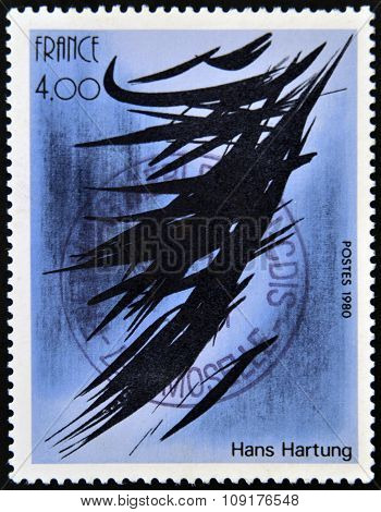 FRANCE - CIRCA 1980: a stamp printed in France shows Abstract Painting by Hans Hartung circa 1980