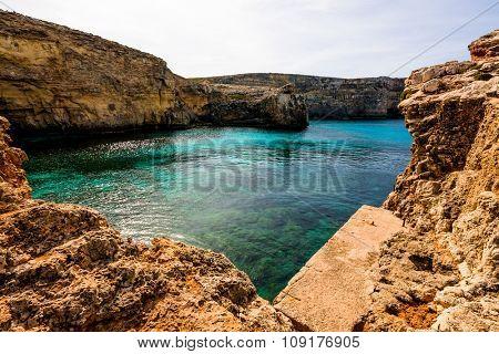 Sea bay in stone desert