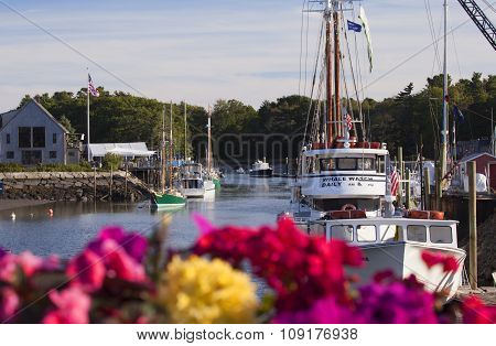 Boats In The Harbor In New England