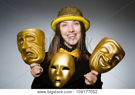 Woman with mask in funny concept