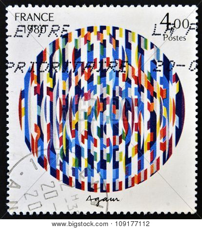 FRANCE - CIRCA 1980: a stamp printed in France shows Message of Peace Painting by Yaacov Agam