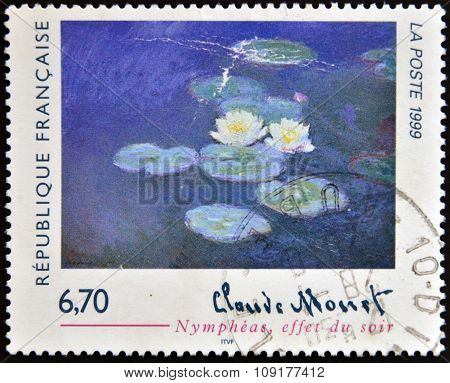FRANCE - CIRCA 1999: A stamp printed in France shows lilies evening effect by Claude Monet circa 199