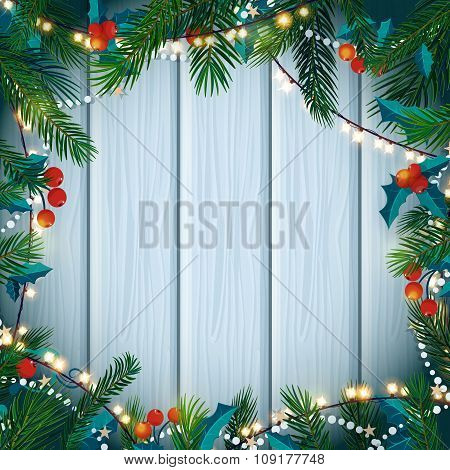 Christmas And New Year Card With Fir Branches, Mistletoe. Vector Illustration.