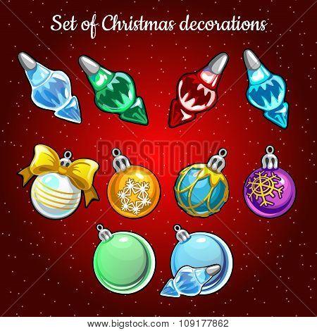 Set of Christmas toys and decor on Christmas tree