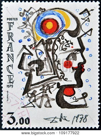 FRANCE - CIRCA 1979: a stamp printed in France shows Head of Marianne Painting by Salvador Dali