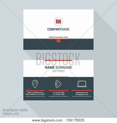 Modern Creative And Clean Business Card Template In Red Color With Big Icons. Flat Style Vector Illu