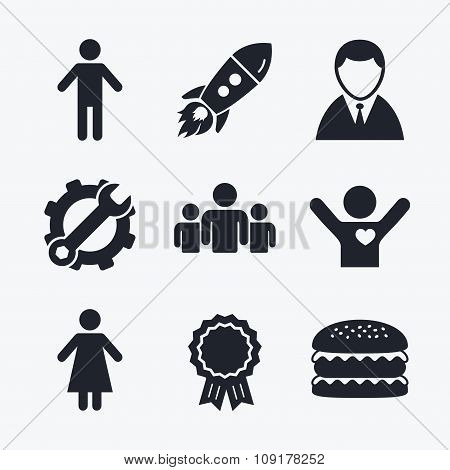 Businessman person icon. Group of people symbol.