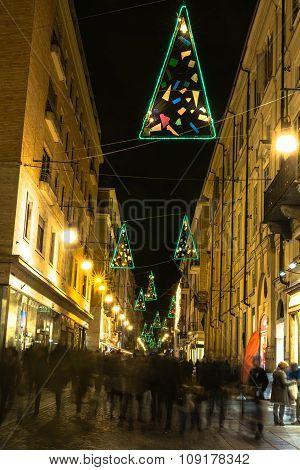Light and Art in via Lagrange in Turin, Italy