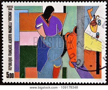 FRANCE - CIRCA 1986: A stamp printed in France shows Virginia by Alberto Magnelli circa 1986