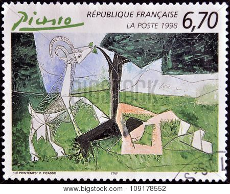 FRANCE - CIRCA 1998: A stamp printed in France shows spring by Pablo Picasso circa 1998