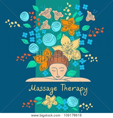 Massage therapy. Vector element design, set logos for beauty salon, cosmetic boutique.