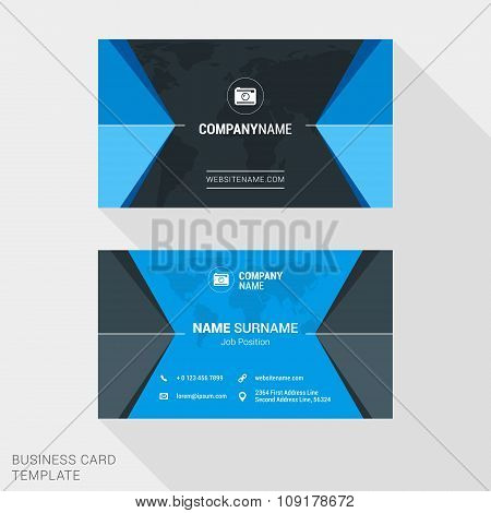 Modern Creative And Clean Business Card Template In Blue Color With World Map. Flat Style Vector Ill