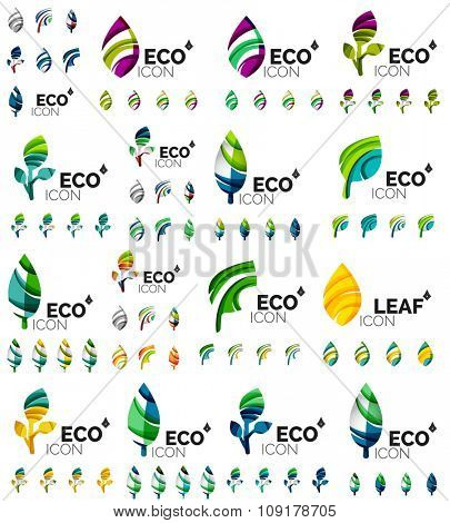 Mega collection of green summer concepts - leaves compositions, plants. Various futuristic colors colors, illustration