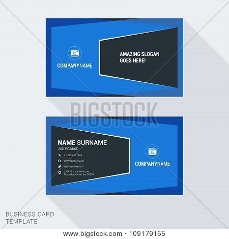 Modern Creative And Clean Business Card Template In Blue Color With Abstract Frames. Flat Style Vect