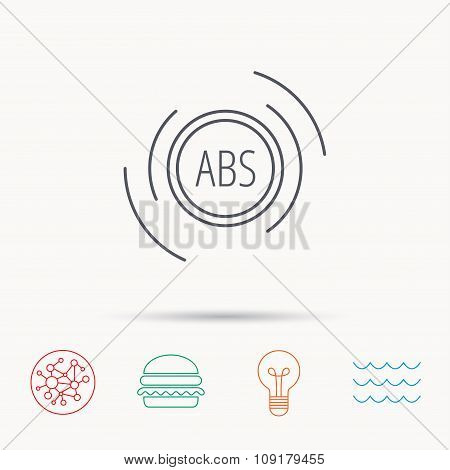ABS icon. Brakes antilock system sign.