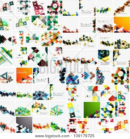 Huge mega collection of abstract geometric paper graphic layouts. Universal backgrounds, presentation templates or web covers. illustration