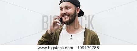 Man Using Phone Telecommunication Technology Mobile Concept
